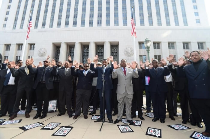 Supervisor Mark Ridley-Thomas joined more than 50 African American men dressed in suits and ties in a silent visual to acknowledge the deaths of unarmed Black man in 2005.